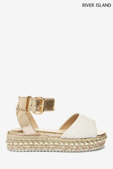 River Island White Embellished Flatform Wedges