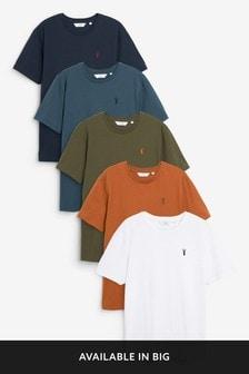 מארז חמש חולצות טי בגזרה רגיל עם צווארון מעוגל דגם Stag