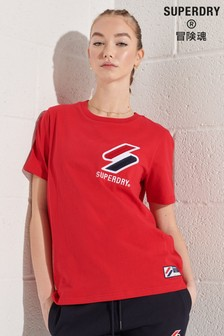 Superdry Red Organic Cotton Sportstyle Chenille T-Shirt