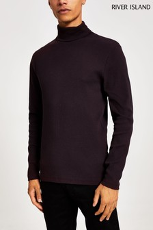 River Island Dark Red Roll Neck T-Shirt
