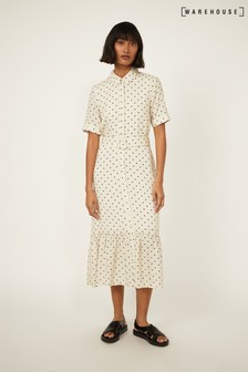Warehouse Neutral Print Polka Dot Belted Shirt Dress