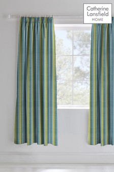 Dino Stripe Pencil Pleat Curtains by Catherine Lansfield
