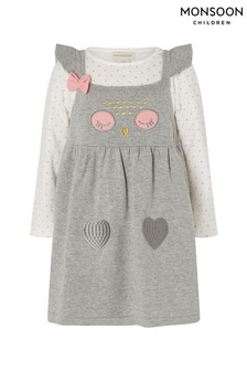 Monsoon Newborn Baby Owl Knit Dress And Top Set