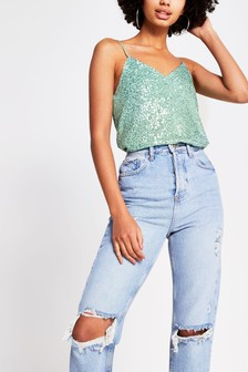 River Island Green Sleeveless Sequin Cami Top