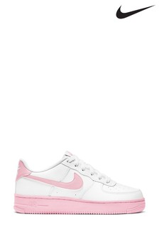 Nike White/Pink Air Force 1 Youth Trainers