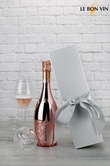 Rose Gold Sparkling Wine In Silver Bow Gift Set by Le Bon Vin