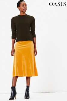 Oasis Yellow Bias Cut Skirt