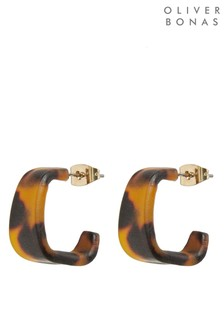 Oliver Bonas Bramble Mini Tortoiseshell Hoop Earrings