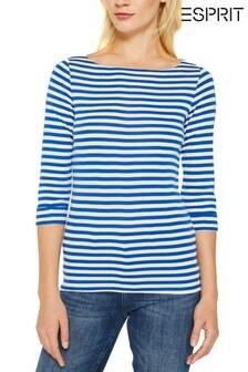 חולצת טי עם פסים של Esprit בכחול