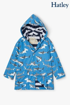 Hatley Blue Deep Sea Sharks Colour Changing Raincoat
