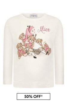 Girls Ivory Alice Long Sleeve Cotton T-Shirt