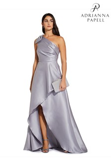 Adrianna Papell Grey Mikado Long Dress
