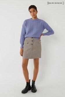 Warehouse Black Dogstooth Pelmet Mini Skirt