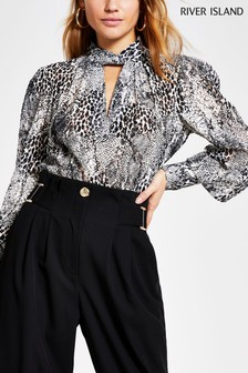 River Island Grey Light Twist Neck Blouse