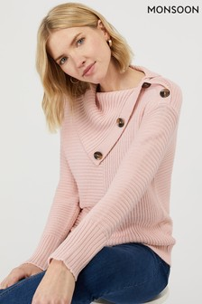 Monsoon Ladies Pink Suri Split Neck Jumper