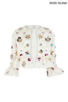 River Island White Embellished Jacket
