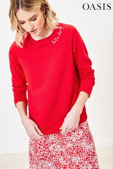 Oasis Mid Red Love Always Sweater
