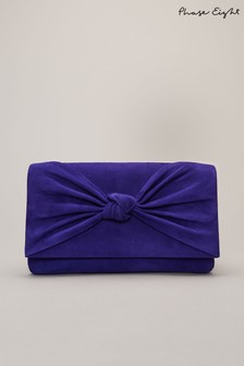 Phase Eight Blue Carrie Knot Front Clutch Bag