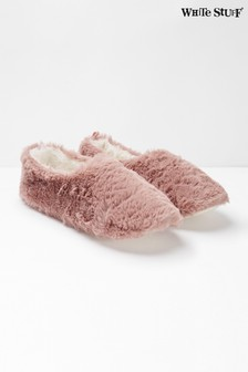 White Stuff Pink Faux Fur Slippers