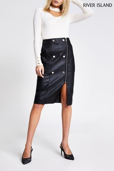 River Island Black Zip Popper Quilted Skirt