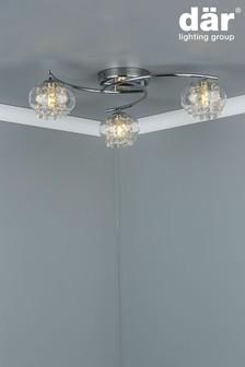 Dar Lighting Silver Elma 3 Light Semi Flush Fitting