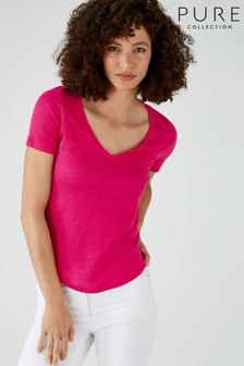 Pure Collection Pink Linen Jersey V-Neck T-Shirt
