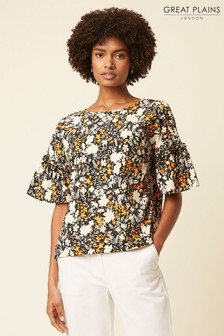 Great Plains Orange Verbena Floral Round Neck Top