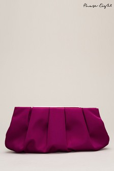 Phase Eight Purple Sonja Soft Satin Clutch Bag