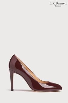 L.K.Bennett Red Whitney Round Toe Stilettos Shoes