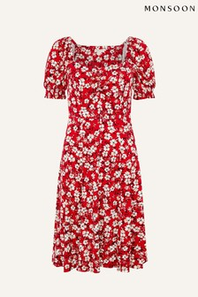 Monsoon Red Everly Floral Print Jersey Dress