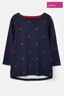 Joules 3/4 Length Sleeve Jersey Heart Printed Top