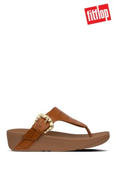 FitFlop™ Brown Lottie Croco Toe-Thong Sandals