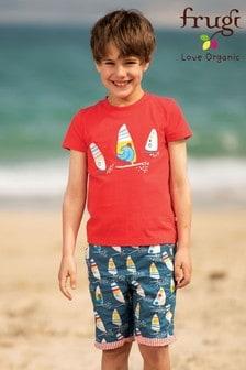Frugi Blue GOTS Organic Reversible Shorts In Red Seersucker And Windsurfer Print