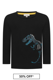 Boys Black Skeleton Cotton T-Shirt