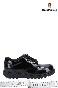 Hush Puppies Black Kiera Patent Junior Lace-Up Shoes