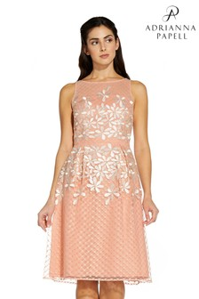 Adrianna Papell Pink Embroidered Fit And Flare Dress