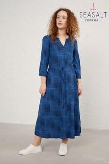 Seasalt Hatched Lines Sapphire Narcissi Dress