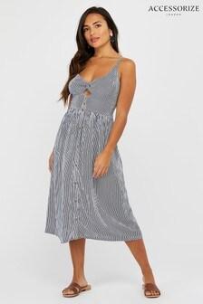 Accessorize Navy Stripe Midi Dress