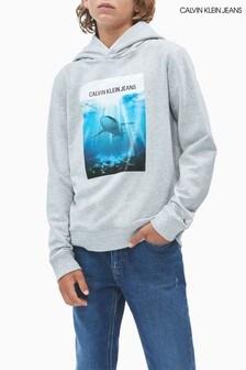 Calvin Klein Grey Jeans Shark Photo Print Hoody