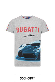 Bugatti Boys Grey Cotton T-Shirt