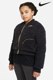 Nike Black Sherpa Fleece Bomber Jacket