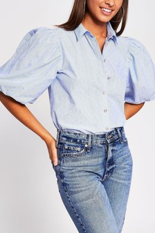 River Island Blue Light Puff Sleeve Shirt