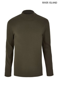 River Island Khaki Turtle Neck T-Shirt