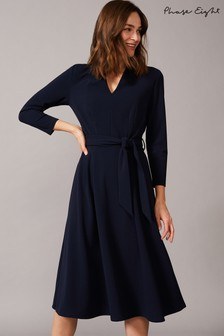 Phase Eight Blue Maretta Pleat Tie Waist Crepe Dress