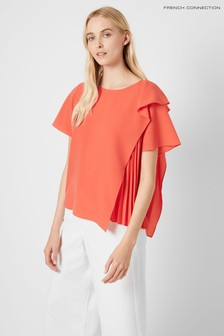 French Connection Red Aphra Light Pleated Top
