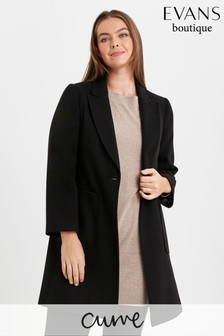 Evans Black Curve One Button Coat