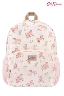 Cath Kidston® Kids White Unicorn Meadow Classic Large Rucksack With Mesh Pocket
