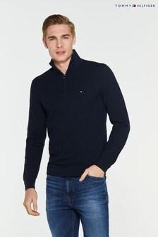 Tommy Hilfiger Zig Zag Structured Zip Mock Sweater