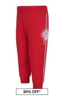 Versace Baby Boys Red Cotton Logo Joggers
