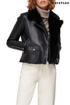 Whistles Black Faux Fur Lined Jacket